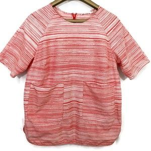 COS Silk Blend Top Striped Short Sleeve Shirt